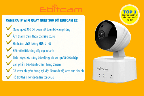 Camera IP Wifi 1.0MP Ebit E2